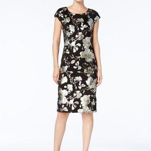ECI Metallic-Print Sheath Dress, Black/Gold, 8